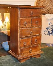 Antique Primitive Wood 7 Drawer Spice Tea Apothecary Counter Cabinet Box