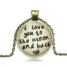 Vintage I LOVE YOU MOON Cabochon Photo Bronze Glass Chain Pendant Necklace DY163