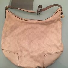 Gucci Guccissima Leather Handbag Horsebit Chain Hobo Cream