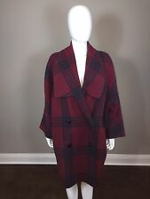 Vintage Oscar De La Renta Oversized Burgundy Red Plaid Wool Coat Size 10 Italy