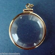 Vintage gold KEEPSAKE TRINKET BUBBLE LOCKET w/ LATCH charm MOVEABLE #F
