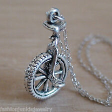 Unicycle Necklace - 925 Sterling Silver 3D Charm Circus Bike Unicyclist Gift NEW