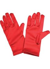 BEAUTIFUL RED SATIN STRETCH GLOVES S/M WRIST LENGTH BURLESQUE GLAM SILKY