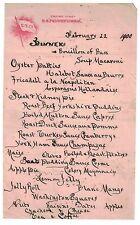 1900 Hand Written Dinner Menu from the SS Pennsylvania Empire Line