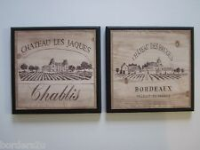 Wine Crate Style Plaques 2 Decor Signs Kitchen French vineyard pictures Chateau