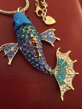 Colossal Betsey Johnson Carp Fish Pendant-Blue/Blue
