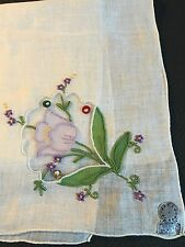 Vintage Madeira Linen Hankie - Appliqued Purple Flower.