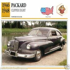PACKARD CLIPPER EIGHT 1946 1948 CAR VOITURE USA ETATS-UNIS CARTE CARD FICHE