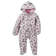 Girls Carter's Snowsuit Pram Outerwear Jacket 6M Ears Pink Grey Floral NWT