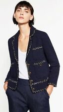 Zara AW16 Navy Tweed Jacket Blazer Size M Uk 10 Genuine Zara