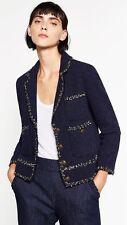 Zara AW16 Navy Tweed Jacket Blazer Size M Uk 10 Genuine Zara