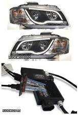 Audi A3 Mk2 8P 2003 on Black R8 Lightbar Projector Headlights 1 PAIR + HID kit