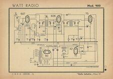 Schema Radioricevitore Watt Radio Mod. 900 Radio Industria Milano 1943