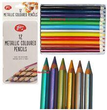 Artistas Metálico Lápices 12 un. metálico color estaño lápiz de calidad profesional