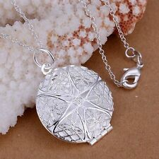 Silver 3D Filigree Hollow Round Photo Locket Pendant Necklace Chain
