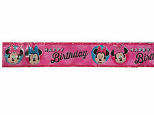 Disney Minnie Mouse Printed Party Happy Birthday Banner Plastic Party Supply