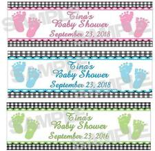 Personalized Blue Pink Green SWEET FEET BABY SHOWER water bottle label wrappers