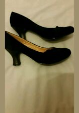 ladies victorian style black suede low heel  shoes size 6