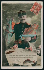 1st April Fool Day Lucky Fish Military Male fantasy vintage 1910s photo postcard