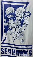 VINTAGE SEATTLE SEAHAWKS NIKRY WALL HANGING BANNER FLAG MAN CAVE JACK DAVIS 1988