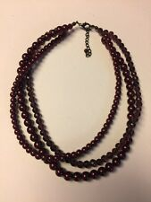 "Grandmas Estate Burgundy Faux Pearl 3 Strand 16"" Long Necklace 11/11"