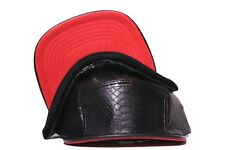 BRAND NEW BLACK PYTHON 5PANEL WITH RED LEATHER BRIM STRAPBACK HAT SNAKE SKIN LOT