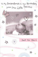 To My Grandma On Your Birthday From Your Little Princess Card. Glitter & Child