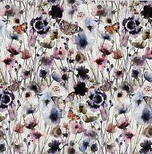 Kleiderstoff  Leinen Enzym-Washed Stoff Digitaldruck Blumen Wiese Schmeterlinge