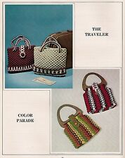 Retro Hippie Multi-Color Handbag w/ Handle Patterns Book Macrame Purses! Purses!