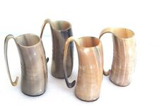 Four Game of Thrones polished Ox drinking horn Mugs with handle for beer wine