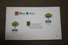 Vintage Postcard A Happy Birthday Poem With Yellow Roses In Pots