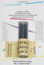 Sugarflair Midnight Black Lustre Dust Powder 7ml Edible Sparkly Food Colour Tint