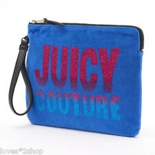 JUICY COUTURE WET BAG BIKINI POUCH MAKEUP WRISTLET VELOUR BLUE GLITTER BLING $39
