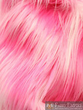 "Faux Fur Fabric Long Pile3 TONE RAINBOW HOT PINK WHITE PINK 60"" Wide"