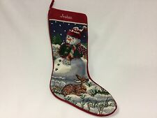 "Tapestry Christmas Stocking Needlepoint Snow Man Deer  19"" Completed Joshua"