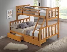 HARDWOOD TRIPLE BUNK BED WITH DRAWERS AND DEEP QUILTED MATTRESSES