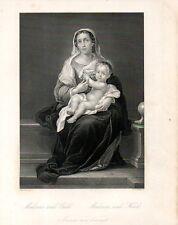Stampa antica MADONNA seduta CON BAMBINO in BRACCIO da Murillo 1850 Old print