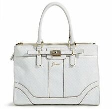 NEW GUESS WHITE LA VIDA LOGO STATUS CARRYALL BAG HANDBAG PURSE