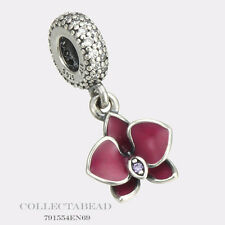 Authentic Pandora Silver Dangle Enamel Purple Orchid Clear CZ Bead 791554EN69