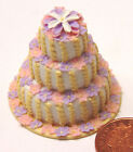 1/12th Scale Floral Patterned Three Tier Wedding Cake Dolls House Miniature R