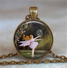 Vintage litter Fairy Cabochon Glass Dome Necklace Pendant Chain Necklace lz14