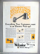 Webster Phonograph Electric Pick-Up  PRINT AD - 1930 ~turntable cartridge pickup