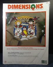 "Dimensions Snow Family Holiday Counted Cross Stitch Kit  8578  9""X7.5"" New"