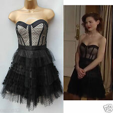 Unique Karen Millen Black Mesh Corset Tutu Skirt Prom Party Cocktail Dress UK 10