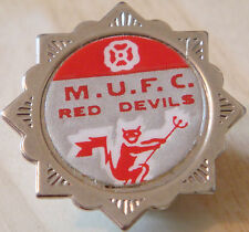 MANCHESTER UNITED Vintage 1970s 80s Insert badge Brooch pin Chrome 33mm x 33mm
