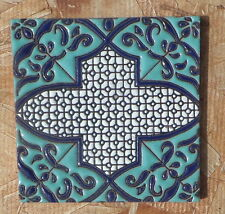 "8~Talavera Mexican 4"" tile Hi Relief  Morocco teal turquoise Cobalt Blue Jewel"