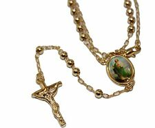 St Jude Thaddeus Rosary 18k Gold Plated 24 inch - San Judas Tadeo Rosario