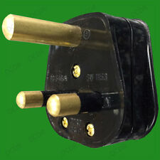 15A Black Round 3 Pin Mains Plug, BS546/A 15 Amp for Heavy Duty Theatre Lighting