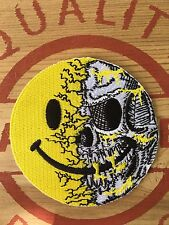 LICENCED QUALITY SMILEY SKULL Evil Biker ARMY MORALE yellow PATCH Airsoft swat