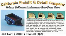 EMPTY UTILITY TRAILER (1-4'x8') N/1:160-Scale Craftsman CAL Freight & Details Co